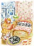 Muchacha, gato y pequeños mouses ilustración del vector
