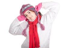 Muchacha gorda feliz del invierno Foto de archivo libre de regalías