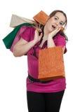 Muchacha gorda que hace compras Imágenes de archivo libres de regalías