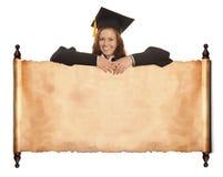 Muchacha graduada con el espacio en blanco del vintage Imagen de archivo libre de regalías