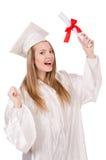 Muchacha graduada solated Imagen de archivo