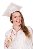 Muchacha graduada solated Foto de archivo libre de regalías