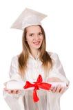 Muchacha graduada solated Imagenes de archivo