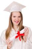 Muchacha graduada solated Imágenes de archivo libres de regalías