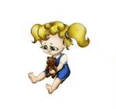 Muchacha gritadora con el oso 2 del juguete Imagen de archivo libre de regalías