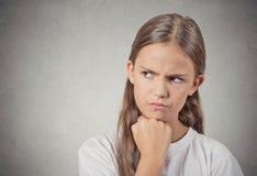 Muchacha gruñona enojada del adolescente Imagenes de archivo