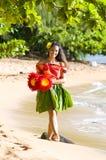 Muchacha hawaiana joven imagenes de archivo