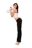 Muchacha hermosa alegre con un teddybear Imagenes de archivo