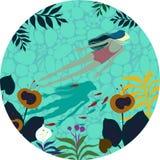 Muchacha hermosa bañada en un río limpio libre illustration