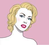 Muchacha hermosa, como Marilyn Monroe stock de ilustración