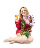 Muchacha hermosa con champán Foto de archivo libre de regalías