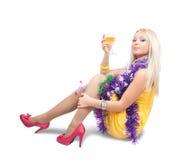 Muchacha hermosa con champán Fotos de archivo libres de regalías
