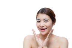 Muchacha hermosa con concepto del cuidado del maquillaje, de la juventud y de piel Imágenes de archivo libres de regalías