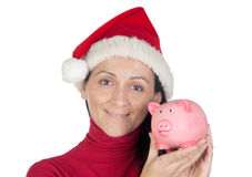 Muchacha hermosa con el ahorro del sombrero de la Navidad Imágenes de archivo libres de regalías