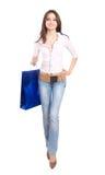 Muchacha hermosa con el bolso de compras Imágenes de archivo libres de regalías