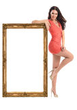 Muchacha hermosa con el marco aislado en blanco imagen de archivo libre de regalías