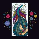 Muchacha hermosa con el pájaro y las flores libre illustration