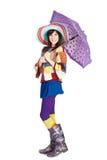 Muchacha hermosa con el paraguas Imagen de archivo libre de regalías