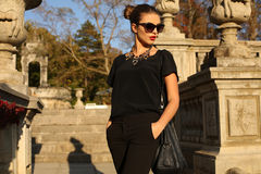 Muchacha hermosa con el pelo oscuro en la ropa elegante que presenta en parque del otoño Imagen de archivo libre de regalías
