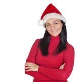 Muchacha hermosa con el sombrero de la Navidad Foto de archivo libre de regalías