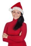 Muchacha hermosa con el sombrero de la Navidad Imágenes de archivo libres de regalías