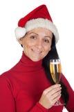Muchacha hermosa con el sombrero de la Navidad Fotos de archivo libres de regalías