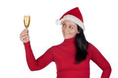 Muchacha hermosa con el sombrero de la Navidad Imagen de archivo libre de regalías