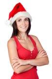 Muchacha hermosa con el sombrero de la Navidad Imagenes de archivo