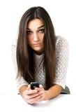 Muchacha hermosa con el teléfono móvil Fotografía de archivo