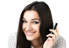 Muchacha hermosa con el teléfono móvil Imagen de archivo libre de regalías