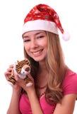 Muchacha hermosa con el tigre del Año Nuevo. Imagenes de archivo