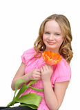 Muchacha hermosa con el tulipán de la flor Sonrisa Humor del resorte Fotografía de archivo libre de regalías