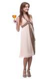 Muchacha hermosa con el vidrio de alcohol Fotografía de archivo libre de regalías