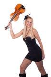 Muchacha hermosa con el violín Imagen de archivo
