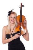 Muchacha hermosa con el violín Fotografía de archivo libre de regalías