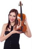 Muchacha hermosa con el violín Imagenes de archivo
