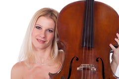 Muchacha hermosa con el violoncelo Fotos de archivo
