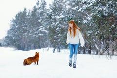 Muchacha hermosa con el zorro rojo en paseo Foto de archivo libre de regalías