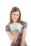 Muchacha hermosa con euros. imagen de archivo libre de regalías