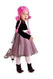 Muchacha hermosa con la figura patines Imagen de archivo libre de regalías