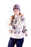 Muchacha hermosa con la figura patines Imágenes de archivo libres de regalías