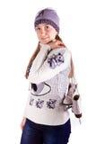 Muchacha hermosa con la figura patines Fotografía de archivo