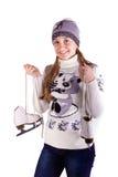 Muchacha hermosa con la figura patines Fotografía de archivo libre de regalías