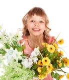 Muchacha hermosa con la flor del resorte. fotos de archivo