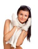Muchacha hermosa con la manopla blanca Imagenes de archivo