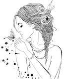 Muchacha hermosa con la mariposa ilustración del vector