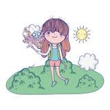 Muchacha hermosa con la mariposa en el paisaje stock de ilustración