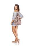 Muchacha hermosa con la mochila del verano Imágenes de archivo libres de regalías