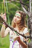 Muchacha hermosa con las cintas Imagen de archivo libre de regalías