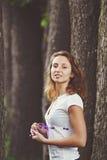 Muchacha hermosa con las cintas Imagen de archivo